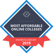 A webpage badge representing HU Online as one of the most affordable online colleges, by onlinecolleges.net for the year 2019.