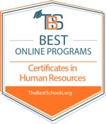 A webpage badge representing HU Online as one of the Best Online Programs for our Certificates in Human Resources.